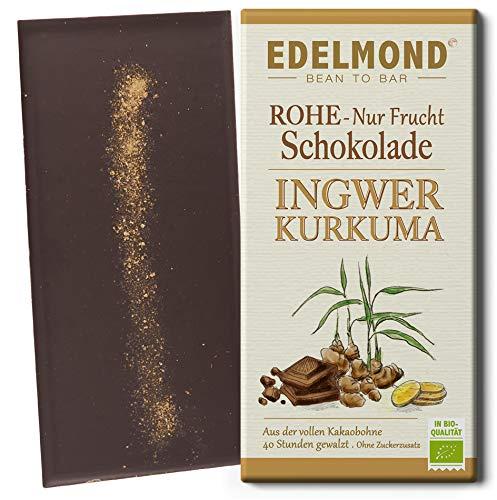 Edelmond Bio Schokolade mit frischem Ingwer. Zartbitter mit geschmackvollen Edelkakaobohnen. Laktosefrei, Vegan & Fair-Trade Kakao. (1 Tafel)