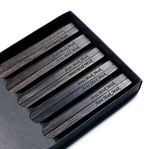 5 Pairs Natural Black Ebony African Blackwood Chopsticks With Custom Personalized Engraving - Matte Finish Without Varnish - Square Handles - in Chinese or Japanese Style - Box Set Gift Wrap Available