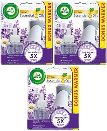 Air Wick Scented Oil Starter Kit - Lavender & Chamomile Fragrance - 1 Oil Refill & 1 Oil Warmer Per Starter Kit - Pack of 3 Starter Kits