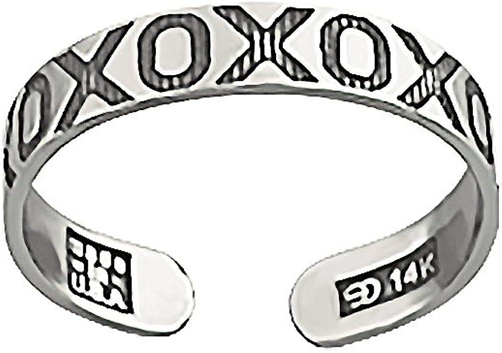 14k White Gold Nautical Ring Adjustable Xo Pattern Toe Ring