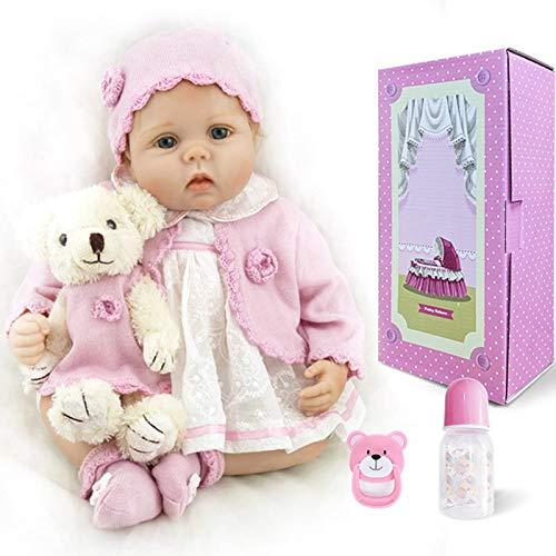 Q-YR Silicone Silicone Reborn Baby Dolls Muchacha Realista Niños Bebés Rosa Traje 55 Cm Juguetes para Bebés Recién Nacidos para Niños con Juguetes De Peluche