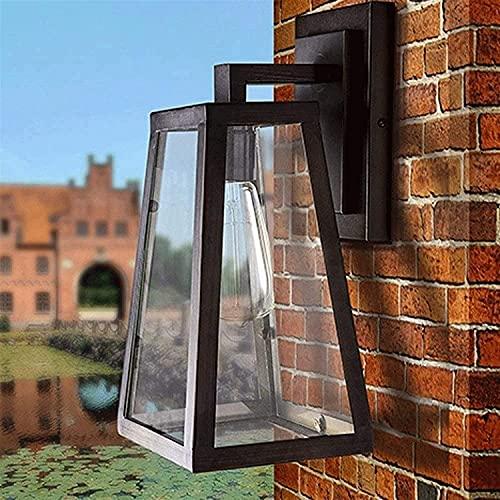 Lámpara de pared al aire libre Lámpara de pared al aire libre Lámpara de pared al aire libre hierro Metal Linterna de cristal 1 Luz E27 Edison EDISON A prueba de agua Lámpara de pared de pared para po