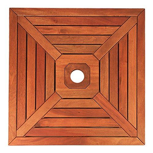 DELSCHEN Abdeckung für Sonnenschirmständer Sonnenschirmständer-Abdeckung 640 x 640 mm aus Holz für Metallplatten Verschiedene Lochdurchmesser - Art. 8310-821-392