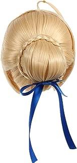 Kadiya Women Short Blonde Anime Cosplay Wig Braid Updo Synthetic Hair