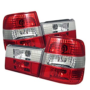 Halogen Tail Light Set For 2003-2004 Honda Accord Outer Clear//Red w// Bulbs 2Pcs