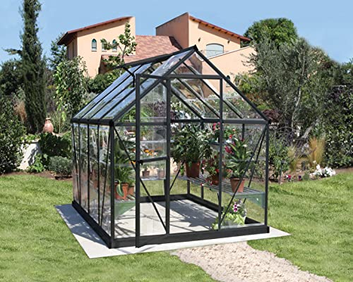 Palram Canopia Harmony Greenhouse - Clear Polycarbonate, Aluminum Frame, Base Included - Grey 6x8ft
