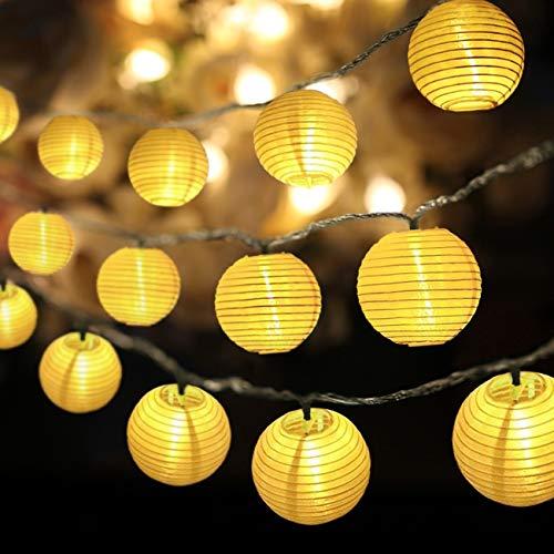 Eqosun® Solar Lampion Lichterkette 30 LEDs warmweiß + Extra lange 4 Meter Zuleitung (SONDERANFERTIGUNG) wetterfest für den Außen- und Innenbereich, austauschbare Akkubatterien