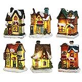 Bseical Village De Noel Lumineux, Maison De Noël Lumineuse, Village De Noël Personnage Lampe Multicolore Déco Noel Miniature Interieure (6pc Set, 4 * 6.5 * 9cm)
