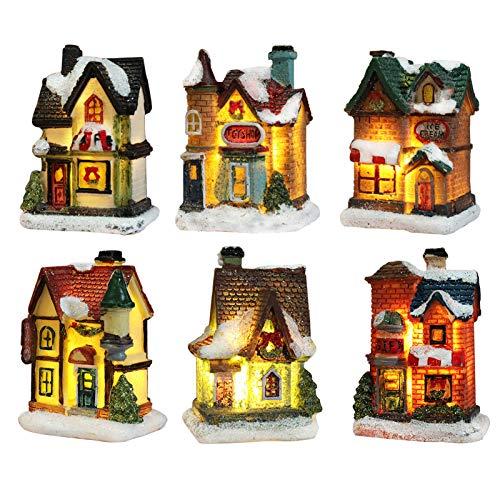 Villaggio Natalizio Luminoso, Casette In Miniatura Natale Accessori Da Costruire Led Luci Decorazioni Natalizie Shabby Chic Fai Da Te (6 pezzi, 4 * 6.5 * 9 cm)