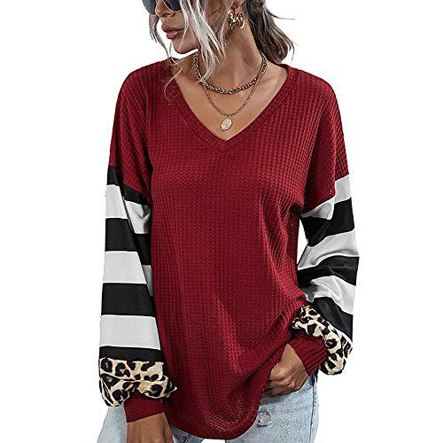Blusa de Patchwork con Estampado de Leopardo a Rayas para Mujer Tops Sueltos con Mangas Linterna de Punto gofrado (Vino Rojo, S)