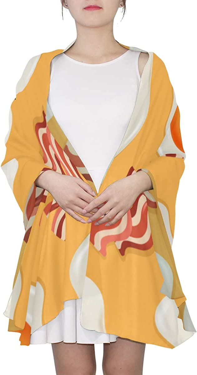 Fried Eggs And Bacon Unique Fashion Scarf For Women Lightweight Fashion Fall Winter Print Scarves Shawl Wraps Gifts For Early Spring