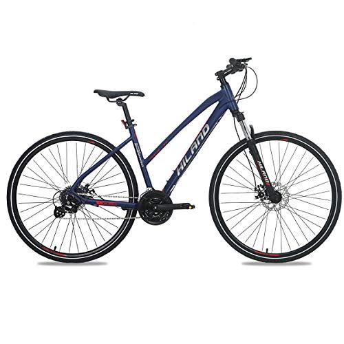 Hiland 700C Hybrid Bicycle with Suspension Fork Aluminum City Commuter Comfort Bike Blue