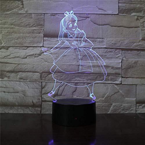 3D Illusion 7 Color Touch PrincesFigura Alicia en el país de las maravillas 7 colores que cambian la lámpara de escritorio táctil para niños Cumpleaños Regalos de Navidad