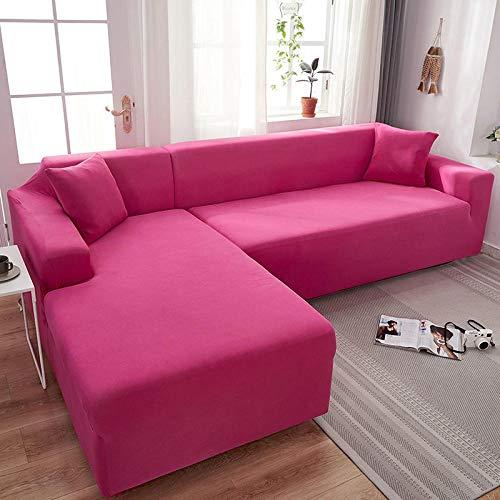 B/H elástico elástico extraíble Cubierta,Funda de sofá elástica Universal, Funda de sofá de Color sólido con Todo Incluido-Rojo D_145-185cm,Elastano elástico Funda de sofá
