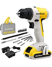 20V Cordless Drill Set, ENVENTOR 3/8 inch chuck, 400 in-lb Torque, 19+1 clutch, LED work light, cordless drills with battery and charger for Metal, Wood, Ceramic Tile Drilling, Drill tool set