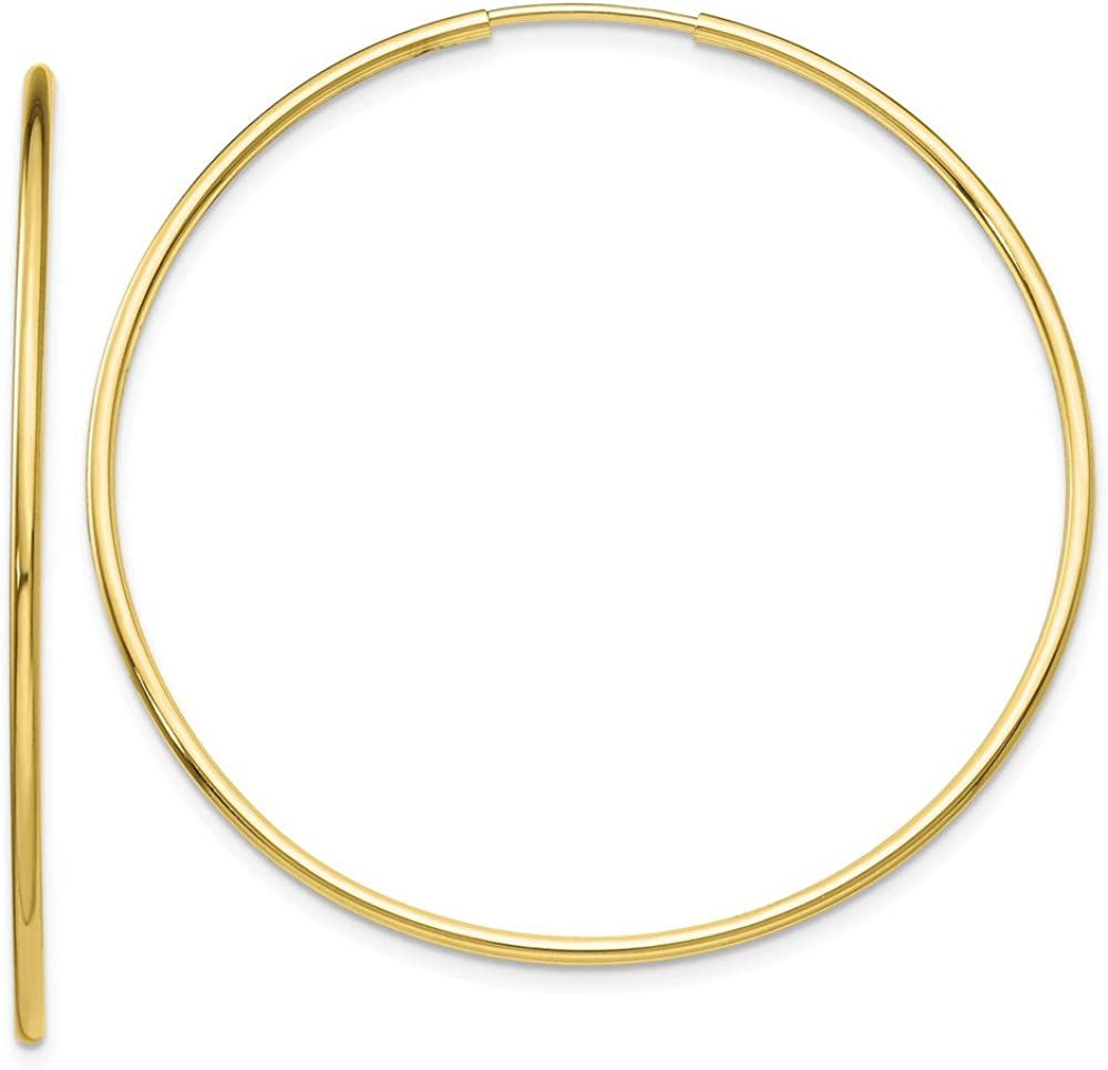 10k Yellow Gold Endless Tube Hoop Earrings Ear Hoops Set Round Fine Jewelry For Women Gifts For Her
