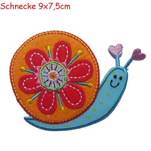 TrickyBoo 2 patch opstrijkapplicatie slak 8 x 7 cm spin 11 x 6 cm set voor het repareren van kinderkleding met design Zürich Zwitserland voor Duitsland en Oostenrijk