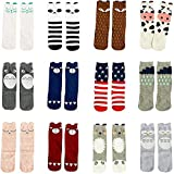 Gellwhu 12 Pairs Baby Girls Socks Toddler Socks Boy Baby Kids Knee High Socks 0-5Y (3-5 Years, 12 Pairs Set A)