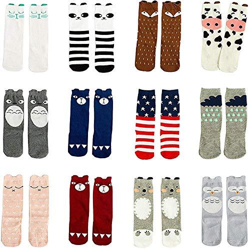 Gellwhu 12 Pairs Baby Girls Socks Toddler Socks Boy Baby Kids Knee High Socks 0-5Y (1-3 Years, 12 Pairs Set A)