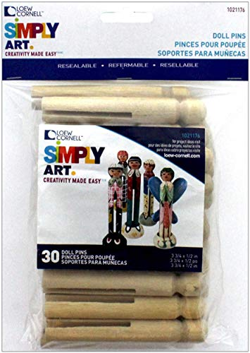 Loew-Cornell Simply Art Wood Round Doll Pins 30 ct.