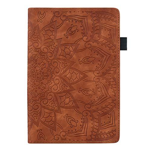 LTLJX Funda per Samsung Galaxy Tab S7 2020 T870/T875, Tableta Cubierta con Card Slot, Diseño de Flores Mandala, Cuero PU Estuche Protector Soporte,Marrón