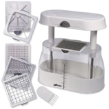 Weston Fruit and Veggie Multi-Chopper (83-2014-W) with 3 Stainless Steel Blades and Storage Base