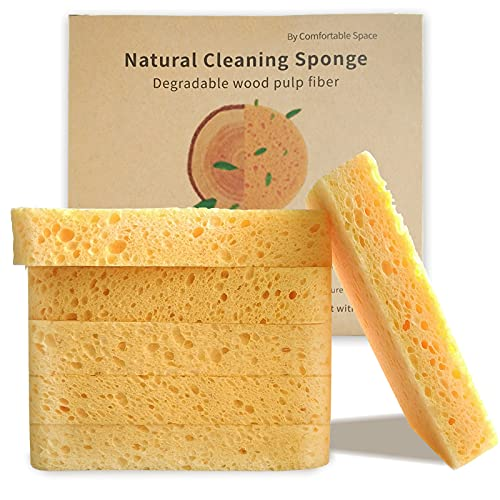 6 Pieces Cleaning Scrub Sponge, Sponge Kitchen, 4.6 x 2.9 x 0.7in All Natural Non-Scratch Sponge 100% Biodegradable & compostable, Portable Environmentally Friendly Carton Packaging