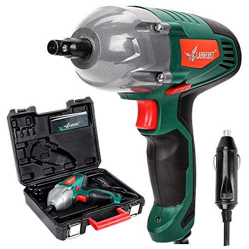 LANNERET Electric Impact Wrench,1/2 inch 12 Volt DC Mighty Portable Car Impact Wrench Gun Kit,300...