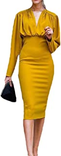 neveraway Women's Fit Long Sleeve Party V Neck Office Work Pencil Sheath Dress