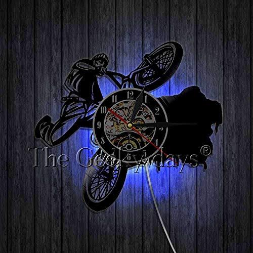 wtnhz LED Reloj de Pared de Vinilo Colorido Ciclismo Reloj de Pared Ciclista Silueta Vinilo Arte de la Pared decoración Racing Bike Rider Ciclismo Reloj Mejor Idea de Regalo