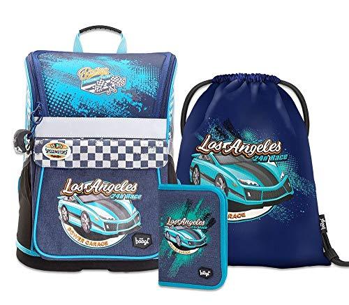 Schulranzen Jungen Set 3 Teilig - Zippy Schultasche ab 1. Klasse - Grundschule Ranzen mit Brustgurt - Ergonomischer Schulrucksack (Racer)