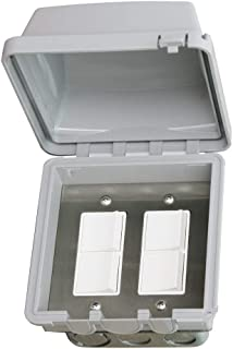 Infratech 14 4315 Accessory - Dual Duplex Switch Flush Mount and Gang Box 20 Amp Per Pole, Patio Heater Switch and Wall Plate