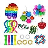 BriskyM Nuevo regalo de juguete Push Pop Sensor Fidget para niños, adultos, necesidades especiales, alivio del estrés, antiansiedad, autismo, TDAH (Rainbow Kid 22 piezas)