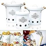 Omi's Beste© Vorratsbehälter Set I 3er Set Kartoffeltopf, Knoblauchtopf und Zwiebeltopf I Die stillvollen Vorratsdosen für die Küche - Frischhaltedose Aufbewahrungsbox Behälter Box Gemüse I