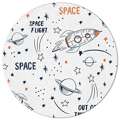 Cohete Volador Universo de Dibujos Animados Espacio Alfombra de Cocina Blanca Alfombra de Entrada para Sala de Estar Alfombra de Piso de cabecera decoración del hogar Alfombra Larga-D_80