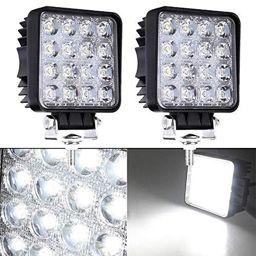 2 x 48W LED Arbeitsscheinwerfer 4320LM 6000K Wasserdicht IP67 Offroad Scheinwerfer mit 16 LEDs Zusatzscheinwerfer SUV, UTV, ATV Flutlicht