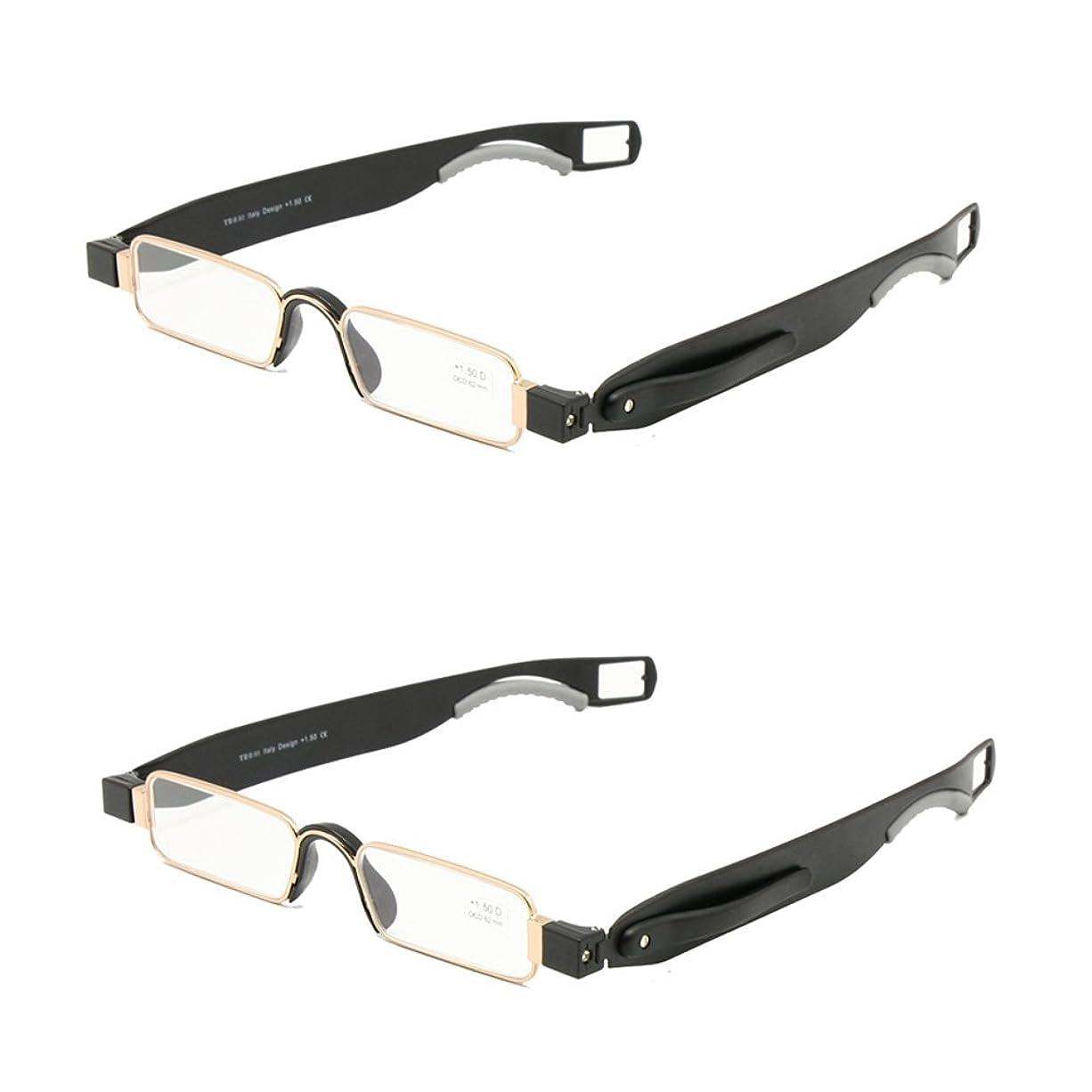 くそー供給医学折りたたみ老眼鏡レザーケースミニポケットリーダーフラット薄型老眼 + 1.0 ~ + 3.5 (+200, 2組)