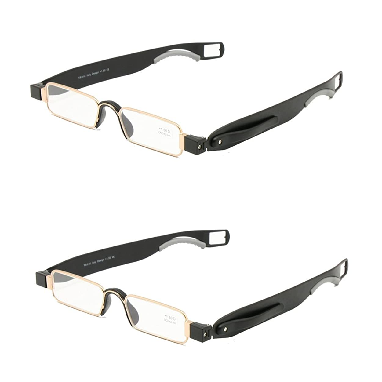 春発揮する拡大する折りたたみ老眼鏡レザーケースミニポケットリーダーフラット薄型老眼 + 1.0 ~ + 3.5 (+200, 2組)