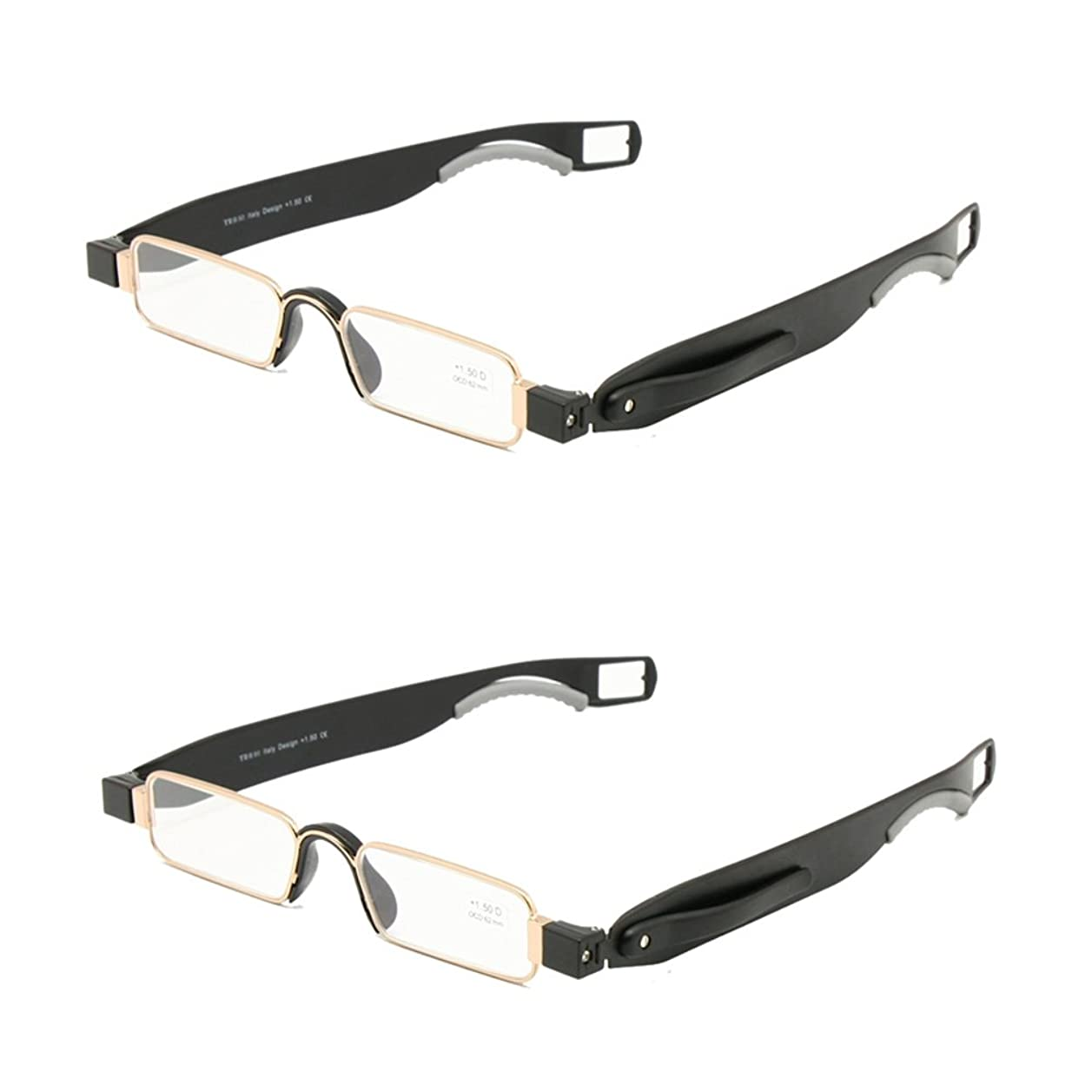正規化いたずらな人事折りたたみ老眼鏡レザーケースミニポケットリーダーフラット薄型老眼 + 1.0 ~ + 3.5 (+200, 2組)