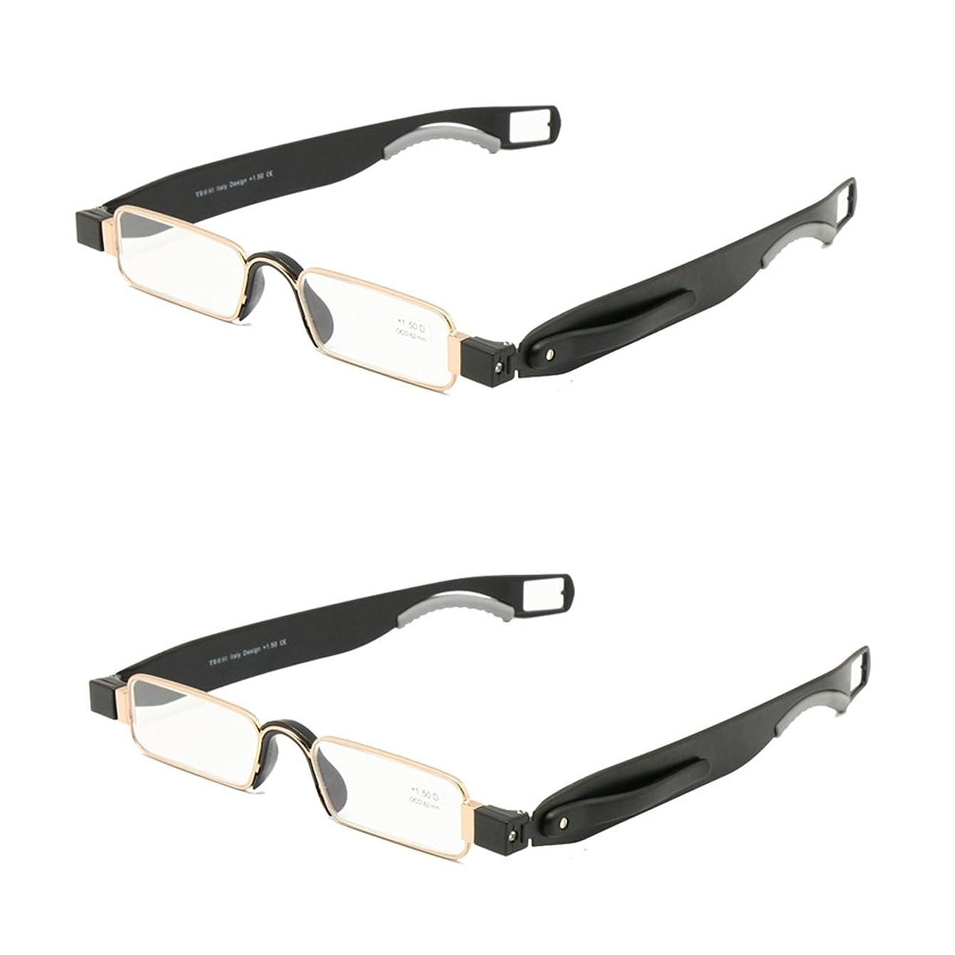 アナログ送る暴露する折りたたみ老眼鏡レザーケースミニポケットリーダーフラット薄型老眼 + 1.0 ~ + 3.5 (+200, 2組)