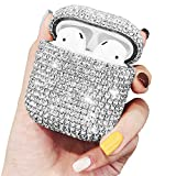 2019 Newest AirPods Case,J.west Luxury Sparkle Bling Rhinestone Diamonds Hard Case Protective Cover Wireless Bluetooth Earphone Earbuds Case Accessories Kit for AirPods 1st/2nd Charging Case