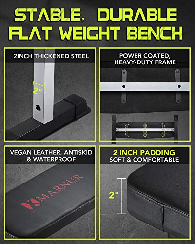 "MARNUR Flat Weight Bench 600 LBS Capacity - 42 x 18.5 x 19"" Fitness Utility Dumbbell Bench for Weight Training Exercise Home Gym"