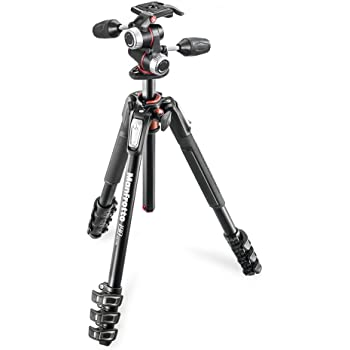 Manfrotto MT055XPRO3 Aluminium 3-Section Tripod Kit w// MHXPRO3W X-PRO 3-Way Head w//Retractable Levers and Friction Controls and a LED Video Light with LCD Control