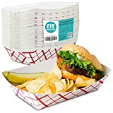 [125 Pack] 5 lb Heavy Duty Disposable Red Check Paper Food Trays Grease Resistant Fast Food...