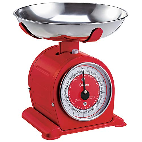 Ardes AR1PA3M BASCULA Bilancia da Cucina Meccanica, Vintage Style, con Ciotola Removibile in Acciaio Inox, Peso Max 5 kg, Rossa, Plastica