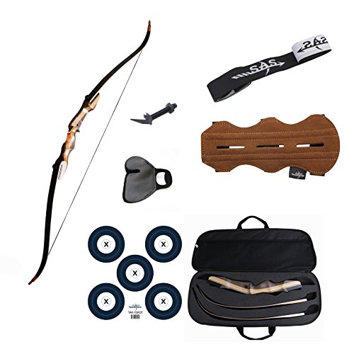 Samick Sage Take Down Recurve Bow Combo Package Kit with Case, Armguard, Stringer, Arrow Rest and Paper Target (40lbs, Right)