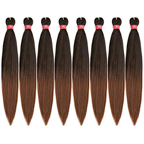 Pre-stretched Braiding Hair, Original Kanekalon Braid Hair Extensions, Hot Water Setting Crochet Hair Braids, Yaki Texture Easy Braiding Hair (24''-8 bundles, 1b/30)