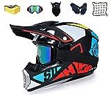 Casco MTB Integral, Casco de Motocross para niños y Adultos, Gafas, máscara, Guantes con Carcasa de ABS, estándar de Seguridad Dot (M)