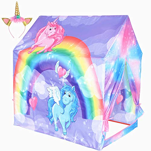 Kids Tent Unicorn Play Tent for Children Indoor and Outdoor Fun,Princess Pretend Playhouse with Pink...