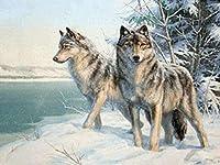 DMFNGJSD 数字油絵 フレームレス 、数字キット塗り絵 手塗り DIY絵-雪の中のオオカミ-デジタル油絵 40x50 cm